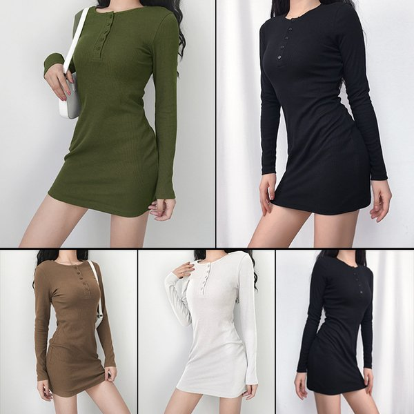Designer Womens Dress New Brand Womens One Piece with Buttons Fashion Autumn Long-sleeve Tight Top Dress Sexy Style Size S-XL Wholesales