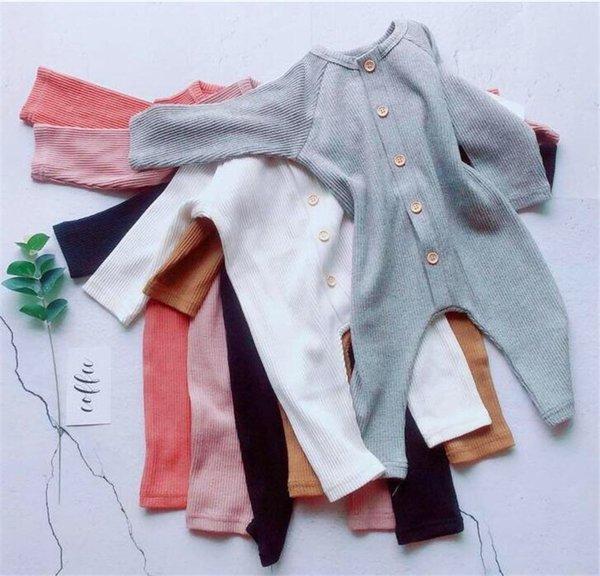 Nuovi disegni INS Infant Toddler Baby Boys Ragazze Pagliaccetti Autunno Autunno Manica lunga Bottoni frontali Tute in cotone bianco di qualità Tute