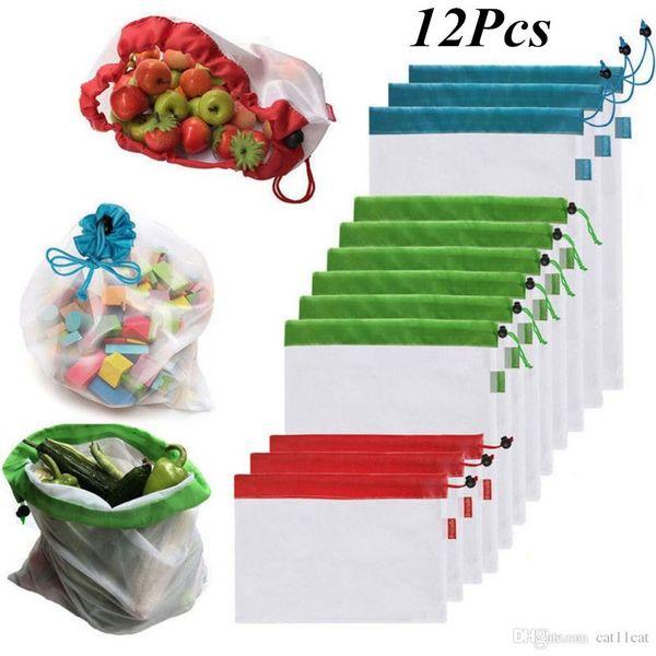 12 pièces Maillé des sacs réutilisable Produire Écologiques sacs sacs lavables à provisions répandrai L'epicerie fruits jou légumes STOCKAGE