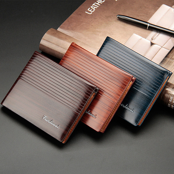 New men's short wallet embossed paint bread cover two fold horizontal section multi-card wallet card package