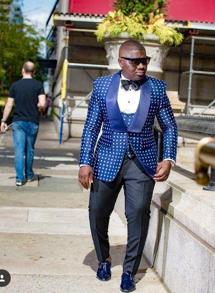 Fashion Royal Blue Groom Tuxedos White Dot Mens Wedding Tuxedos 2019 Style Shawl Lapel Man Jacket Blazer 3Piece Suit(Jacket+Pants+Vest+Tie)6
