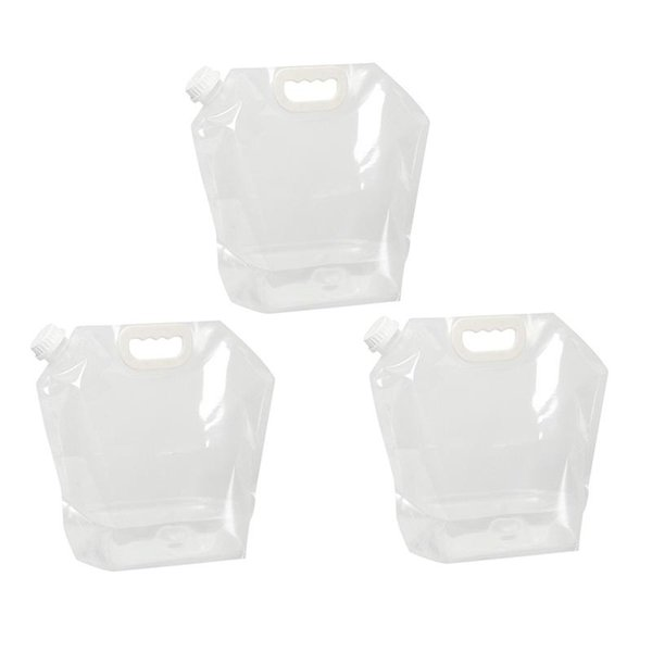 top popular 3pcs 5L Outdoor Large Capacity Portable Foldable Drinking Water Bag for Sport Camping Hiking Riding(Transparent) 2019