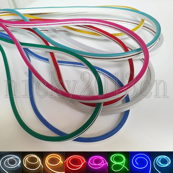 Süper Parlak 12 V 2835 LED Neon Tüp Flex Şerit Halat Işık Silika Jel 6mm * 12mm 120 LEDs / m IP67 Kulübü Reklam Işareti DIY için Su Geçirmez