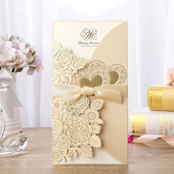 50pcs Gold Laser Cut Wedding Invitations Card Rose Heart Greeting Cards Printing Envelopes with Ribbon Wedding Party Decoration