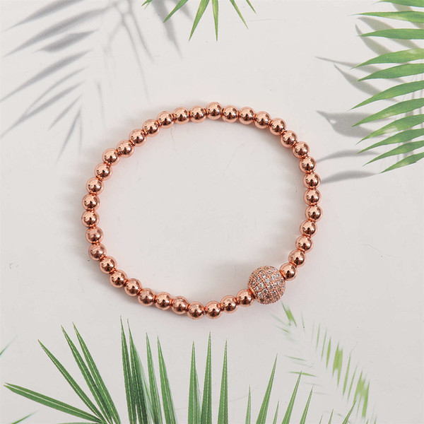 New Luxury Clear Cylinders Crown Braiding Women Men Bracelet Wholesale Top Quality Brass Beads Party Gift Jewelry 10000