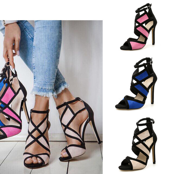 Women fashion color matching peep toe stiletto heels sandals sexy hollow cross tied high-heeled summer dress shoes size 35-40