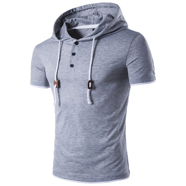 Fashion Male Solid Color Men Shirt Hooded Casual Gray Summer Short Sleeve Hoodies Street Slim t shirts Plus Size S-2XL 2pcs/lot