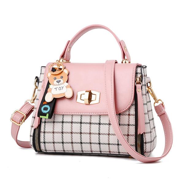 2019 Fashion New Lock Female Crossbody Bag Women Plaid Handbags Double Zipper Mini Bear Shoulder bags Lady Quality Messenger Bag