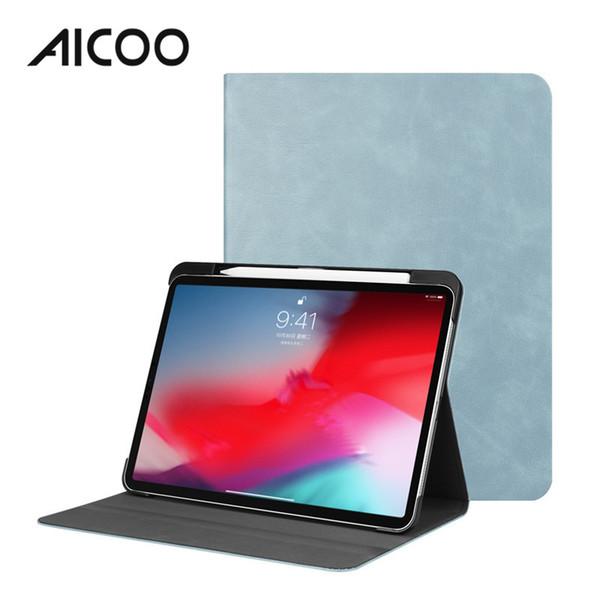 AICOO Funda TPU plegable de cuero en color liso plegable con ranura para bolígrafo Kickstand Funda para dormir automática para iPad Pro 11 Samsung Tab S4 OPP
