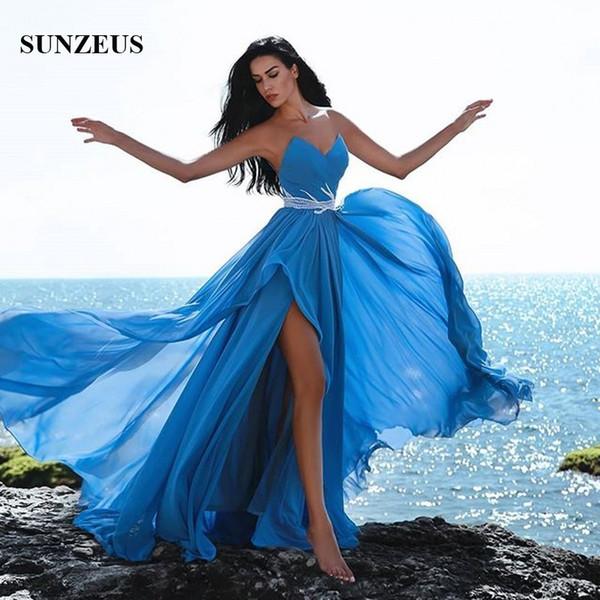 Compre Vestidos De Fiesta De Color Azul Marino Vestido De Manga Larga Con Escote En El Lateral Corte De Gasa Vestidos De Fiesta Atractivo Vestido