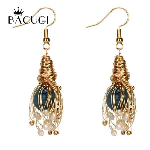 Trendy 14kgf Handmade Winding Pearl Drop Earrings For Women White Baroque Freshwater Pearl Y19052301