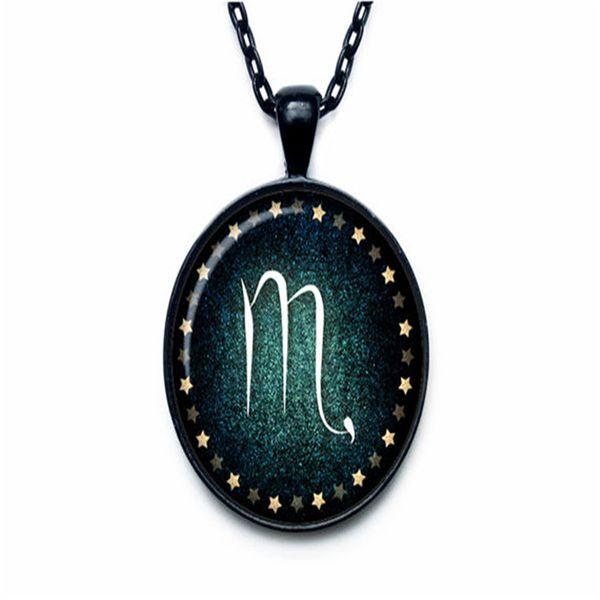 New Fashion 12 Constellation Zodiac Scorpio Time Gem Glass Cabochon Pendant Necklace Long Link Chain Choker Women Men Statement Jewelry Gift