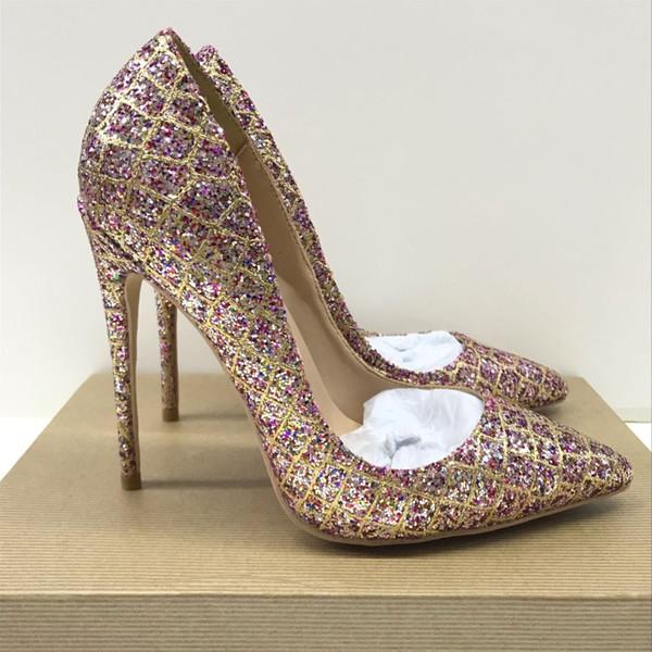 Envío gratis moda mujer bombas multi color oro brillo strass punta estrecha tacones altos sandalias zapatos novia boda bombas 120 mm 100 mm 8 cm