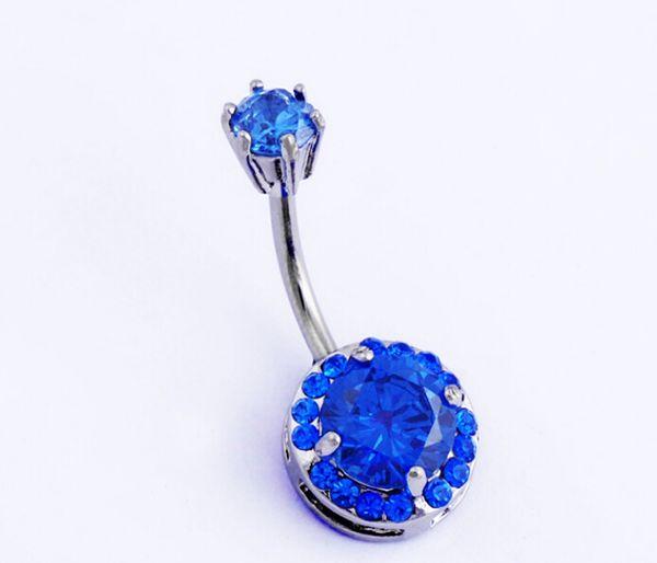 10 pcs / lot Hot Clear 316L corps chirurgical bijoux en acier de nombril en acier nombril barre de bague anneau double coeur 10 couleur