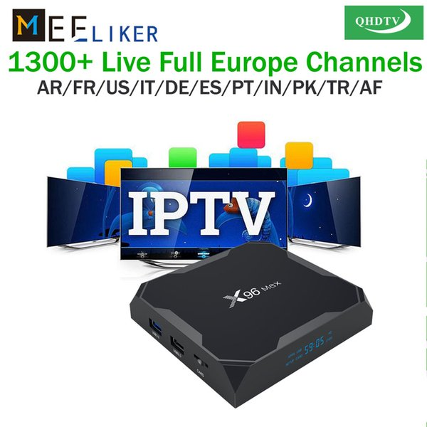 With 1year free QHDTV IPTV 4GB ram 64GB Android 8.1 TV Box X96 Max WiFi Smart 4K TV Box streaming media player for Arabic French Europe
