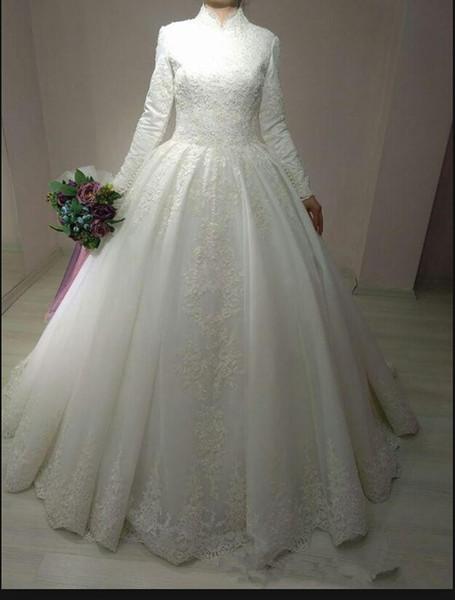 Robe De Mariage 2019 Arabic Bridal Gown Islamic Long Sleeve Arab Ball Gown Lace appliques formal Muslim modest women Wedding Dress 2019