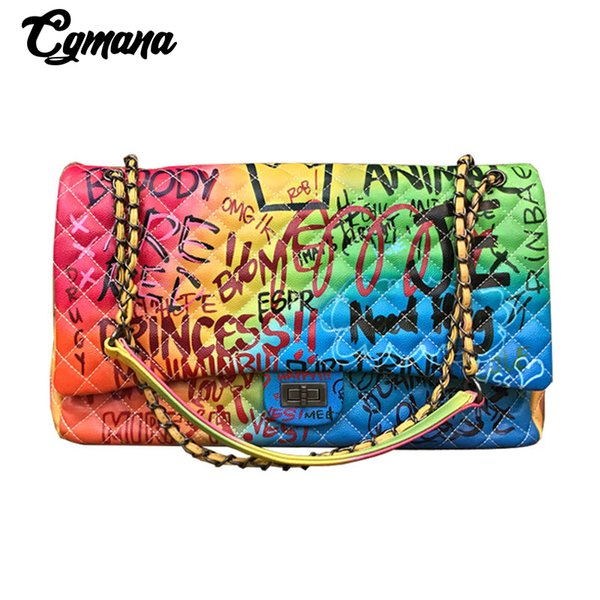 Cgmana Women Bag 2018 Nuovo colore Graffiti stampato a spalla grandi borse Moda borse da viaggio di grandi dimensioni Donne di marca di lusso borse a catena J190716