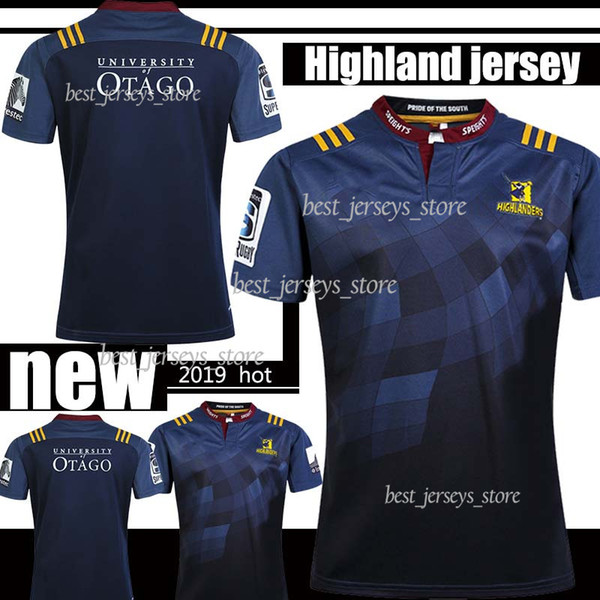 Thai 2019 Highlanders Super Rugby Home Jersey New Zealand Super Rugby Union Highlander High-temperature nrl rugby shirts