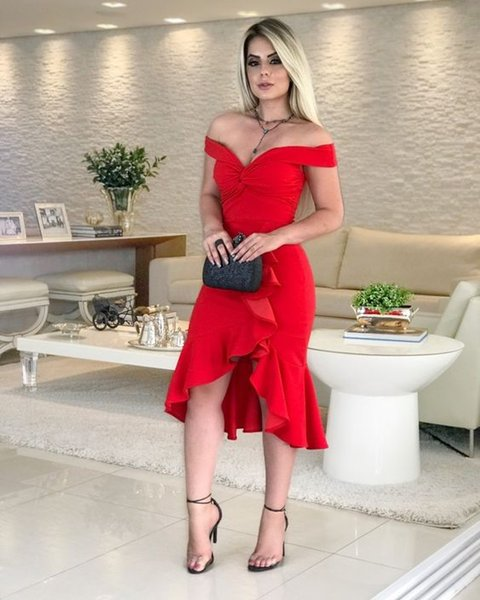 Off the Shoulder Tea Length Red Party Dress with Cascase Trim Semi Formal Dress