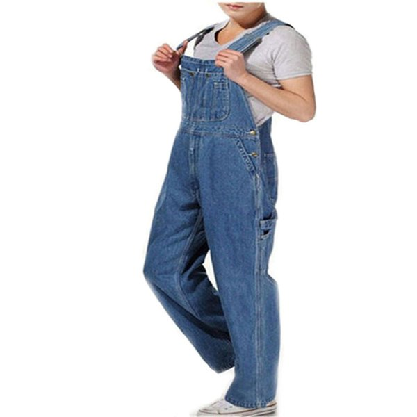 Hot 2018 Men's Plus Size 26-40 42 44 46 Overalls Large Size Huge Denim Bib Pants Fashion Pocket Jumpsuits Free Shipping