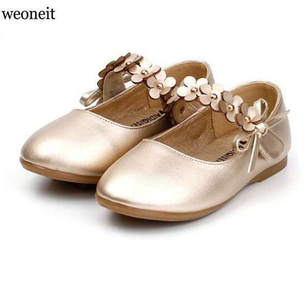 Weoneit Girls Shoes White Black Gold Princess Kids Students Shoes Children 's Flower Baby Dance Shoes Wedding Perform Shoe 21-30 Y19061906