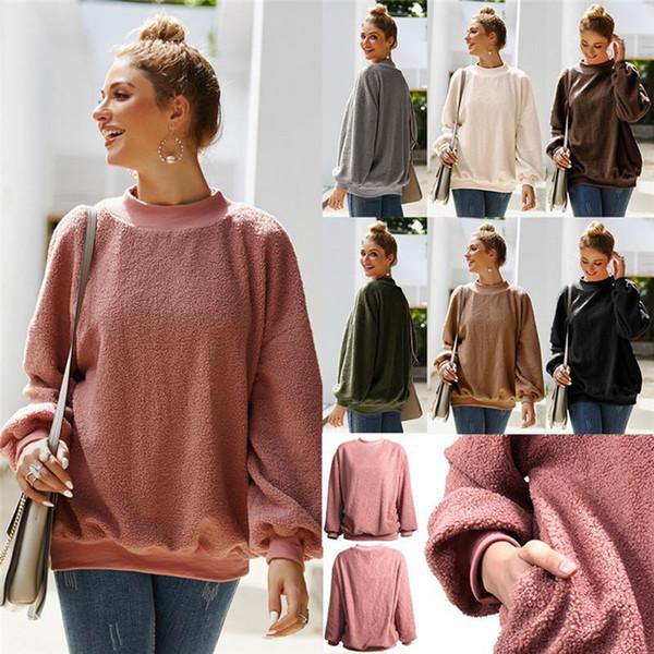 Mujeres Sherpa Fleece sudaderas completa de manga larga suéteres del suéter caliente del invierno de la felpa de bolsillo con capucha Sweatershirt muy buen gusto de las tapas del otoño LJJA3226-4