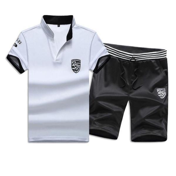 2019 Duas Peças Set Homens Camiseta de Manga Curta Top + Shorts dos homens de corrida homme Fatos de Treino Sportswear Tops Calças Curtas