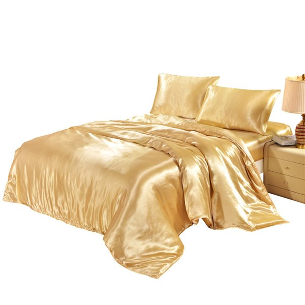 Satin King Duvet Cover Twin Queen Single Size Comforter/Quilt/ Case Plain Dyed Comfortable Bedding Covers Home Textile