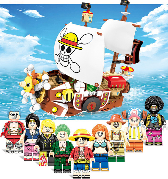 One Piece Sea rover Nave pivata Mille Sunny Sea Bracconiere Rapinatore Luffy Nami Zoro Sanji Chopper Franky Building Block Actiion Figure Toy