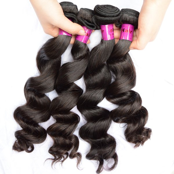 8A Virgin Brazilian Hair Weave Loose Curl Wave Factory Double Weft Free Shedding Mix Length 4pcs Raw Hair Bundles for a full head