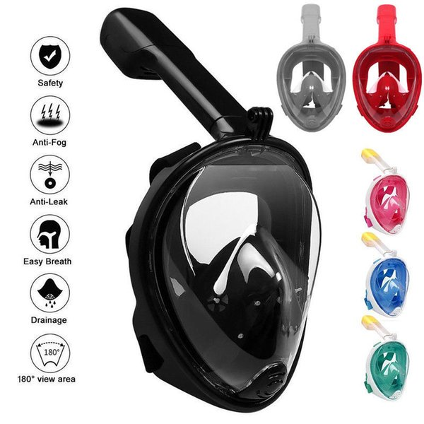 7 Colors Underwater Diving Mask Snorkel Set Swimming Training Water Fun Full Face Snorkeling Mask Anti Fog With Camera Stand CCA11727 6pcs