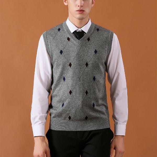 2018 neue mens weste pullover casual wolle gestrickte business men ärmellose weste plus größe 3xl marke kaschmir klassische clothing