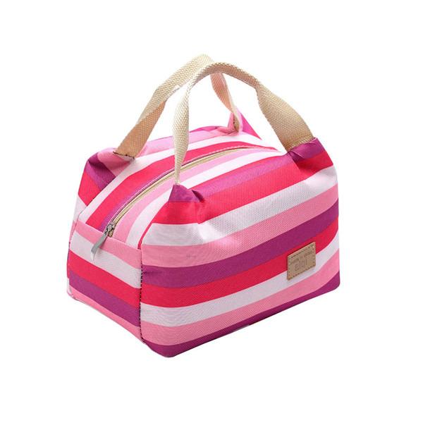 Moda Stripe Canvas Mini Cooler Bag 1 Pessoa pequeno almoço Duplas portátil Bag