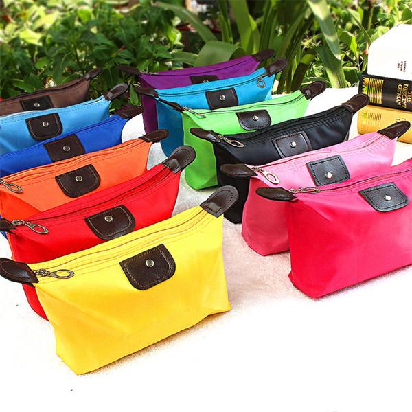 Women Candy Color Handbag Toiletry Wasserdichte Cosmetic Portable Storage Bag Dumpling Clutch Bag Zipper Purse RRA893