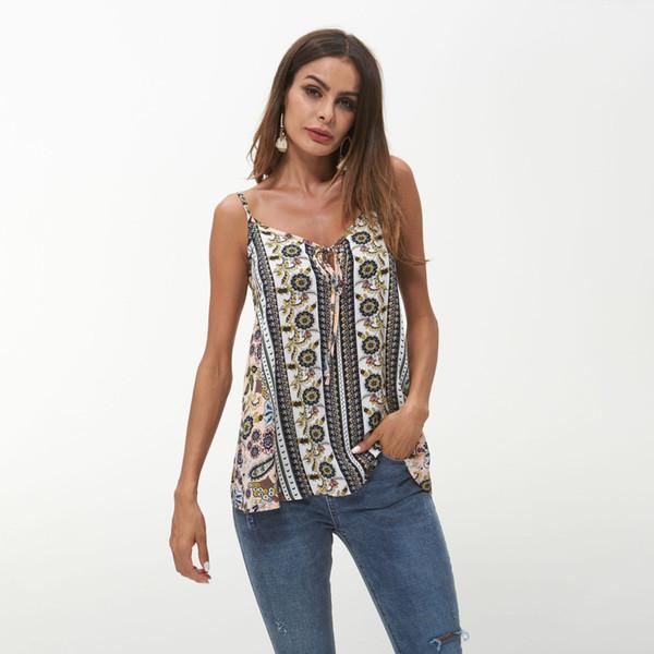 Дизайнер женщины новое пуловер топ роскошные сексуальные Холтер печатных t-рубашка роскошь свободного покроя Блузка для женщин 2019 женщина Холтер.