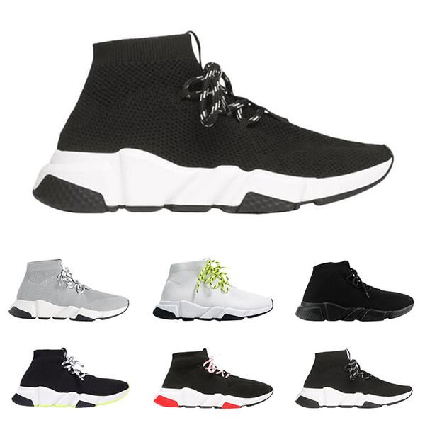 Marca zapatos hombres mujeres diseñador pega los zapatos entrenador velocidad de encaje hasta mediados de tapa negra para hombre blanca del amarillo de la manera entrenadores zapatillas de deporte ocasionales de la plataforma