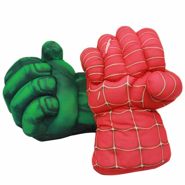 1Pair(2pcs) 25cm Marvel The Avengers Superhero Plush Gloves Spider Man Hulk Plush Toys Plush Boxing Gloves for Children Boy Gift