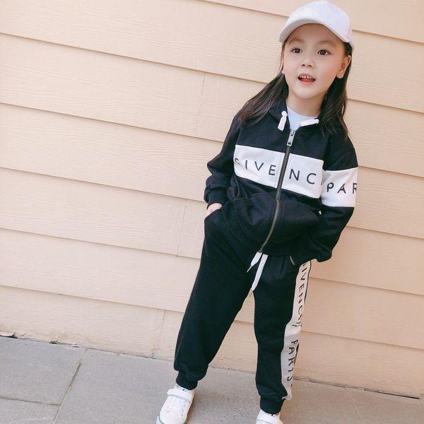 Niños Niñas Traje deportivo Chándal 2019 Moda para niños Chaquetas de rayas activas Abrigo con cremallera + Conjunto de pantalones Ropa para niños Conjunto de ropa de otoño