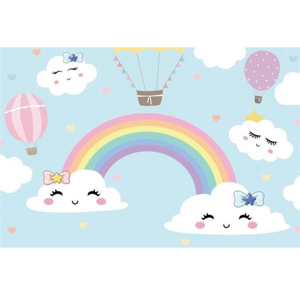 Laeacco Baby Cartoon Rainbow Backdrops Festa di compleanno Carta da parati Poster Ritratto di bambino Sfondi fotografici per Photo Studio