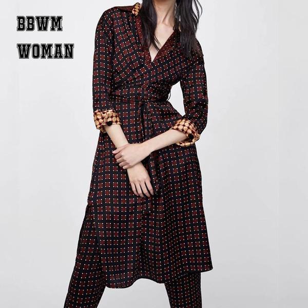 Geometrisches Muster Patchwork Print Kleid drei Viertel Ärmel Revers Taille Gürtel Kleider ZO1054