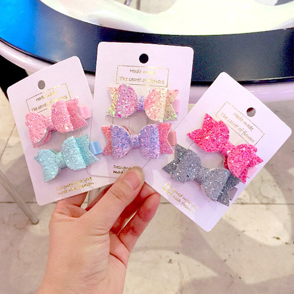 Baby Girls Double Layer  Cute Hairpins Sequin Bow Kids Hair Clips Bows Headwear