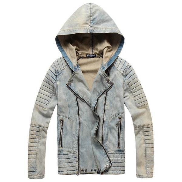 Vintage gris azul lavado a la piedra chaquetas de demin Chaqueta con capucha oscura Agujero distraído con cremallera en diagonal, hip hop, abrigos de Demin