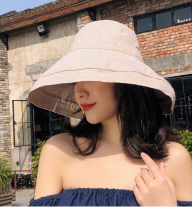 fashing new Woman corduroy fisherman hat basin cap female summer wild simple big Cap pure color cover face casual sun hat Woman's hats