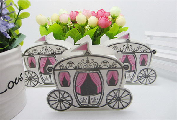 100pcs/lot Crown Fairy Tale Carriage Wedding Candy Box Birthday Party Return Gift Package Paper Box Party Decorations Supplies