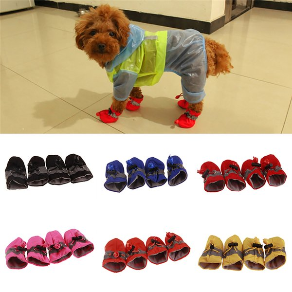 4 Teile / satz Pet Dogs Schuhe Regen Schnee Wasserdichte Booties Socken Gummi Anti-slip Schuhe Für Kleine Hundewelpen Schuhe