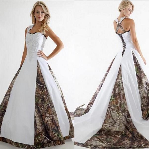 Robe de mariée de camouflage Sweetheart Criss Cross dentelle Applique Off l'épaule des robes de mariée robe de mariée avec train chapelle
