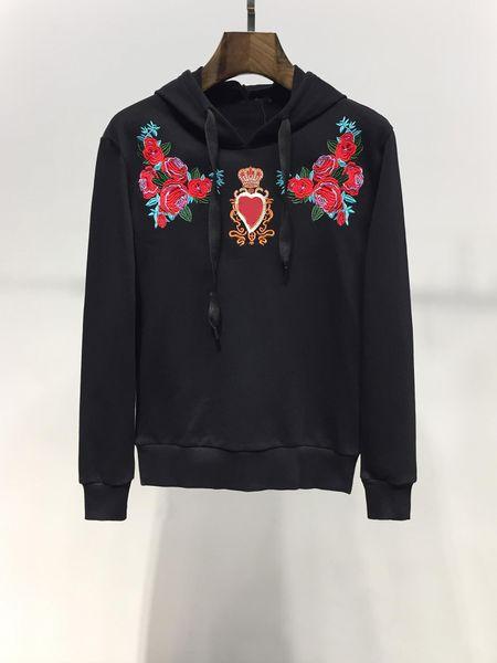 2019 New Floral Print Hooded Long Sleeve Fashion Sweater Designer Sweatshirt Mens Designer Hoodies HIP HOP Solid Loose Black Plus SIZE M-3XL