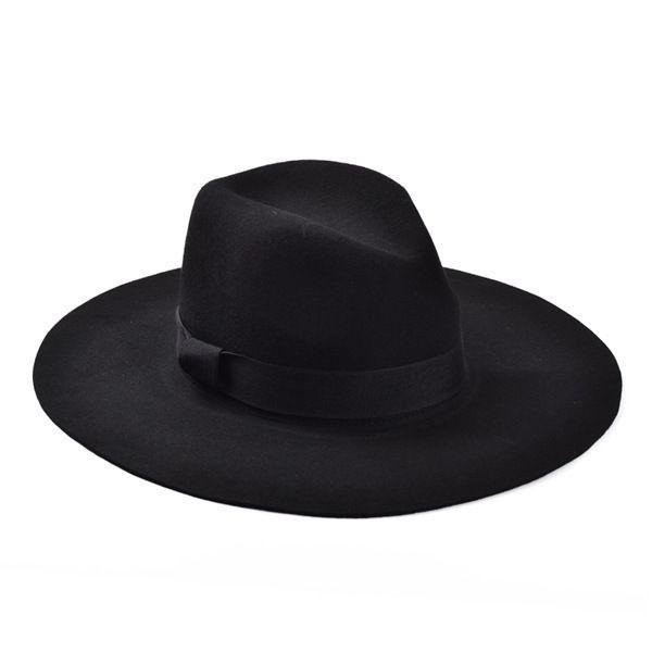 Gros-Mode Vintage Lady filles large bord feutre de laine Fedora Hat noir Floppy Cloche, chapeau de cowboy pour les hommes et les femmes Livraison gratuite