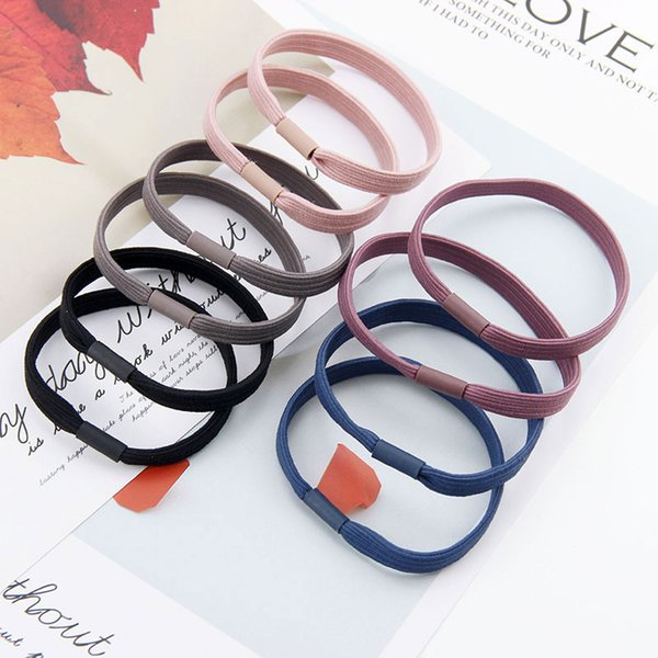 Pure color Boutique Simple Elastic Hair Rubber Bands Handmade Cute Hair Accessories For Girls Women Free Shipping