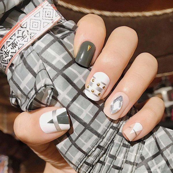 Fashion Fake Nails Khaki White Pink Marble Square Artificial Nail Tips With  Glue Sticker For Office Home Faux Ongle Gel False Nails Red False Nails
